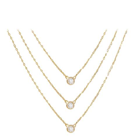 Liv Oliver Gold Multi Layer Cubic Zirconia Necklace