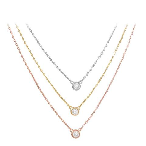 Liv Oliver Tri Colour Multi Layer Cubic Zirconia Necklace