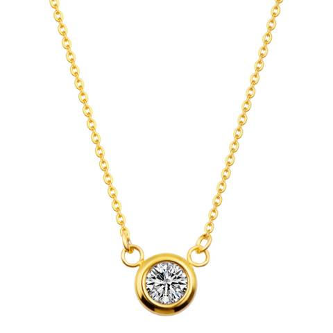Liv Oliver Gold Plated Solitaire Cubic Zirconia Necklace