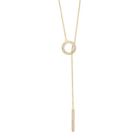 Liv Oliver Gold Lariat Cubic Zirconia Necklace