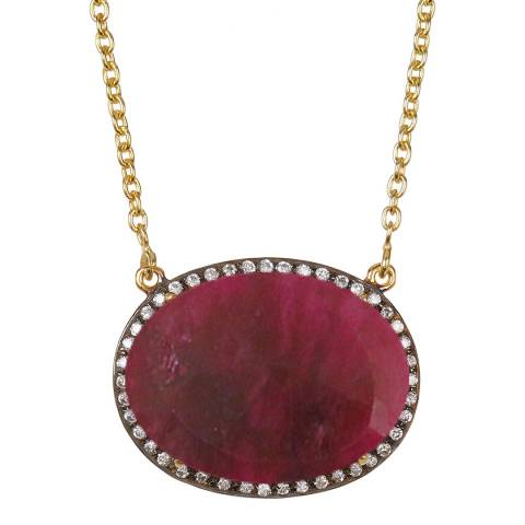 Liv Oliver Gold, Ruby & Cubic Zirconia Necklace