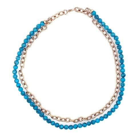 Liv Oliver Rose Gold Link, Turquoise Layer Necklace