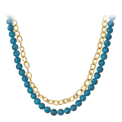 Liv Oliver Gold Link, Turquoise Layer Necklace