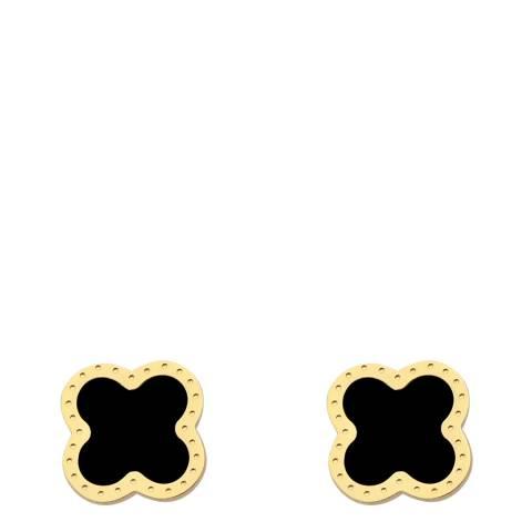 Liv Oliver Gold & Onyx Clover Earrings
