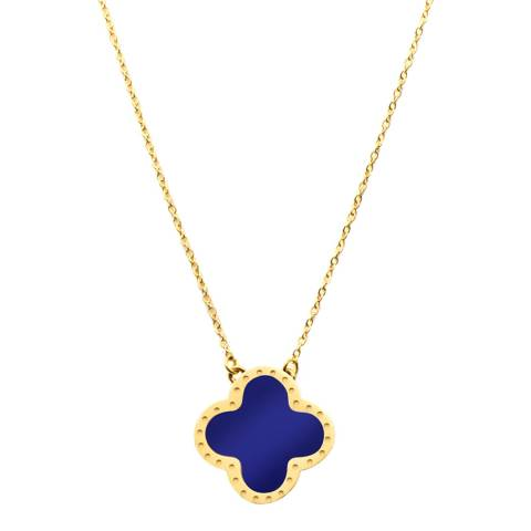 Liv Oliver Gold & Lapis Clover Necklace