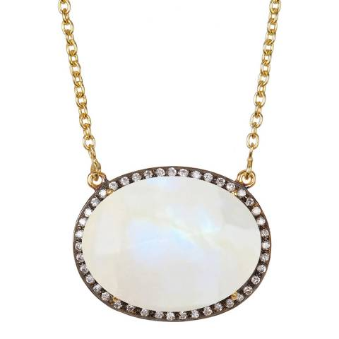 Liv Oliver Gold, Oval Moonstone & Cubic Zirconia Necklace