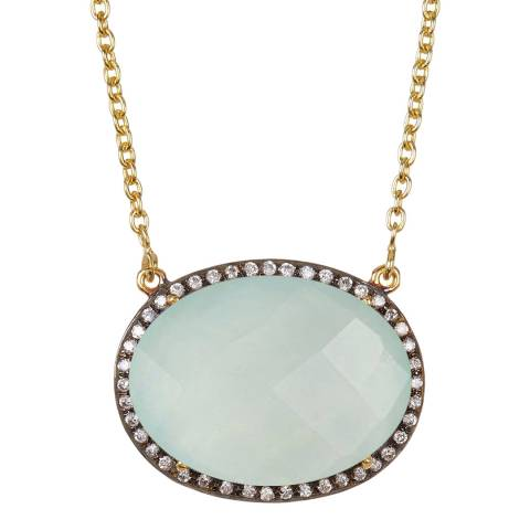 Liv Oliver Gold, Oval Chalcedony & Cubic Zirconia Necklace