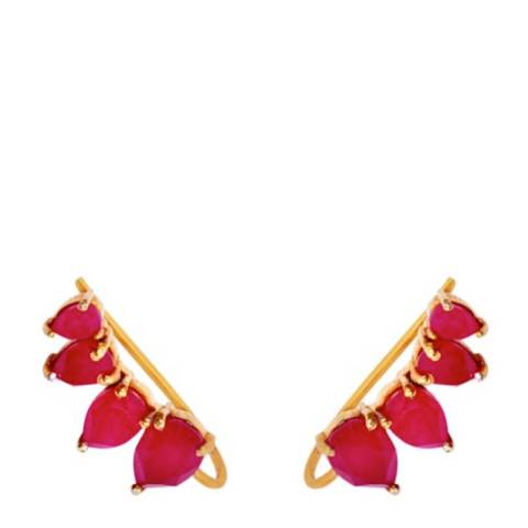 Liv Oliver Gold & Ruby Multi Pear Earrings