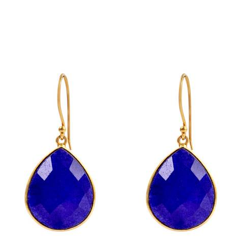 Liv Oliver Gold & Sapphire Pear Drop Earrings