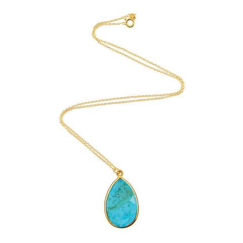 Liv Oliver Turquoise Pear Drop Pendant Necklace