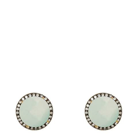 Liv Oliver Gold, Chalcedony & Cubic Zirconia Halo Stud Earrings