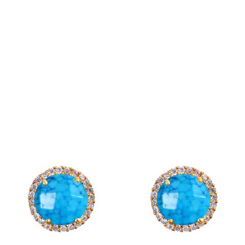Liv Oliver Gold, Turquoise & Cubic Zirconia Halo Stud Earrings