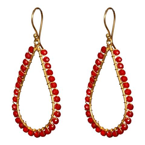 Liv Oliver Gold Pear Shape Ruby Earrings