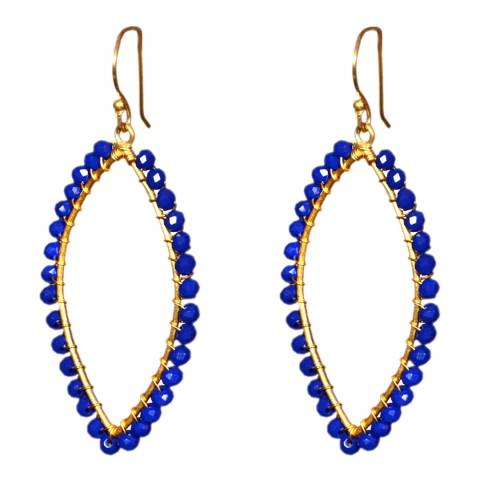 Liv Oliver Gold Marquise Shape Sapphire Earrings