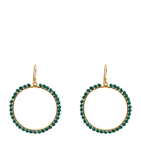Liv Oliver Gold / Emerald Hoop Earrings