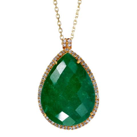 Liv Oliver Gold Plated / Emerald Halo Pendant Necklace