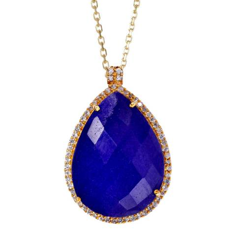 Liv Oliver Gold & Sapphire Halo Pear Shape Pendant Necklace