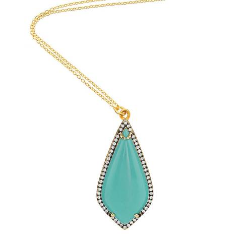 Liv Oliver Gold & Turquoise Embelished Statement Pendent Necklace