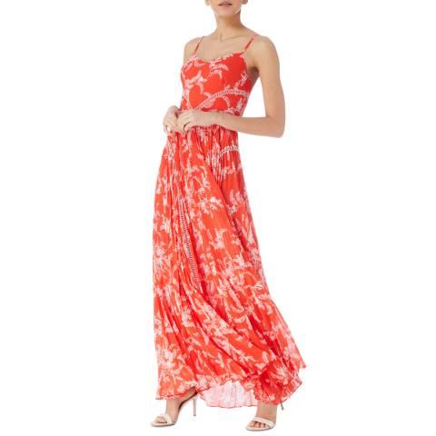 Karen Millen Red Palm Print Dress