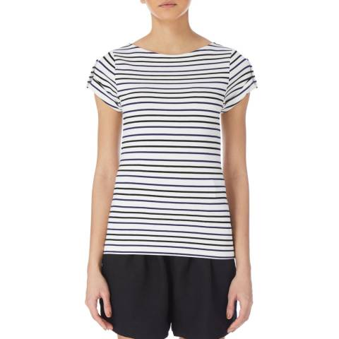 Karen Millen White/Multi Stripe T-Shirt
