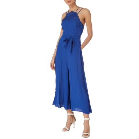 Karen Millen Dark Blue Lace Neck Jumpsuit