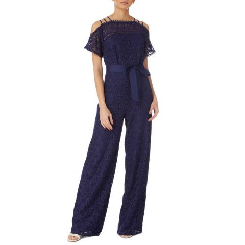 Karen Millen Navy Wide Leg Lace Jumpsuit