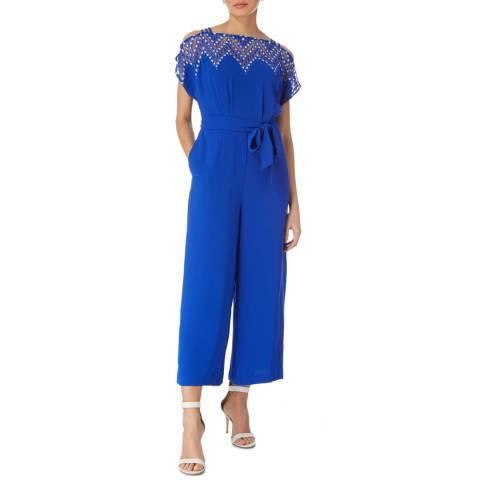 Karen Millen Blue Diamond Lace Jumpsuit
