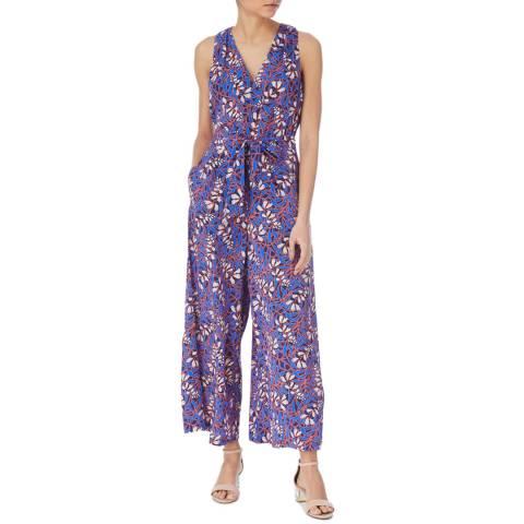 Karen Millen Blue/Multi Foxglove Floral Silk Jumpsuit