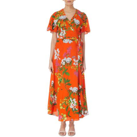 Karen Millen Orange Botanical Print Silk Dress