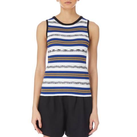 Karen Millen Blue/Multi Stripe Rib Knit Top