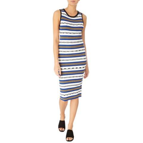 Karen Millen Blue/Multi Stripe Ribbed Knit Dress