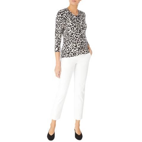 Karen Millen White/Black Leopard Cardigan
