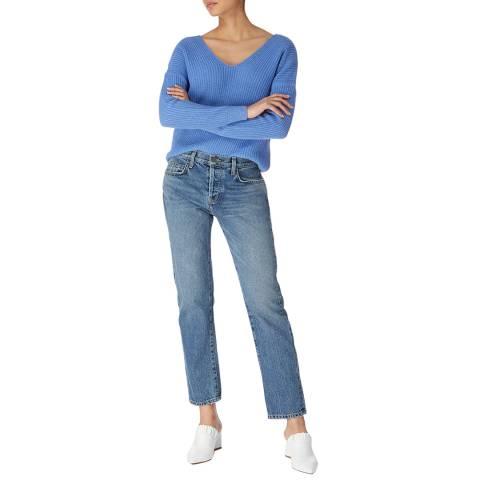 Karen Millen Blue Lace Up Cotton/Wool Blend Jumper