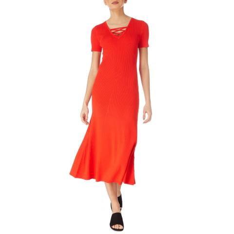 Karen Millen Red Lacing Detailed Ribbed Knit Dress