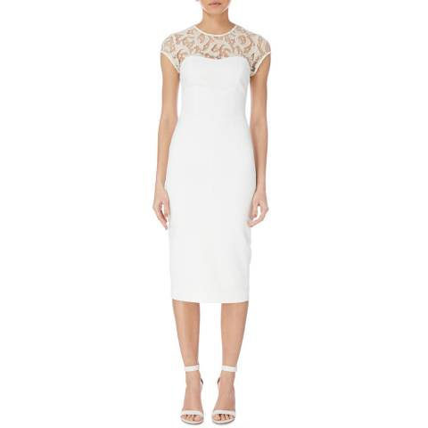 Karen Millen Ivory Graphic Lace Dress