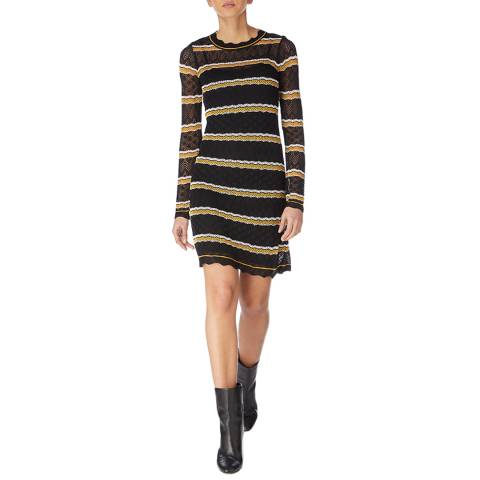 Karen Millen Black/Multi Pointelle Knit Dress