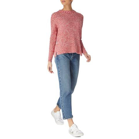 Karen Millen Red/White Slub Knit Cotton Blend Jumper