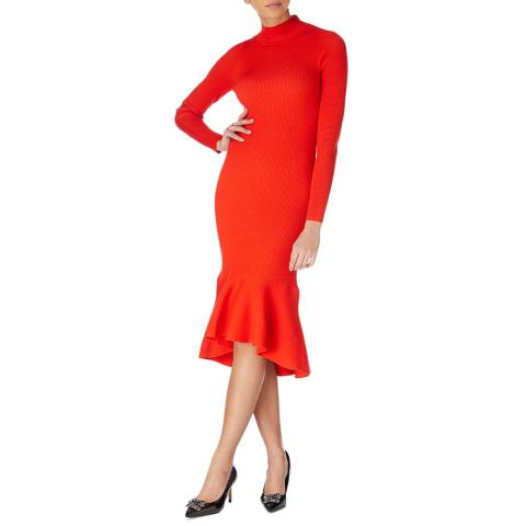 Karen Millen Red Drape Ribbed Knit Dress