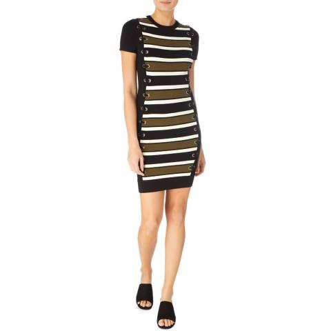 Karen Millen Black/Multi Lace Up Knit Dress