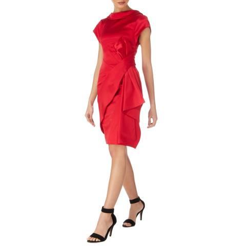 Karen Millen Red Satin Drape Dress