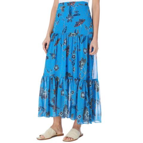 Karen Millen Blue/Multi Folk Floral Maxi Skirt