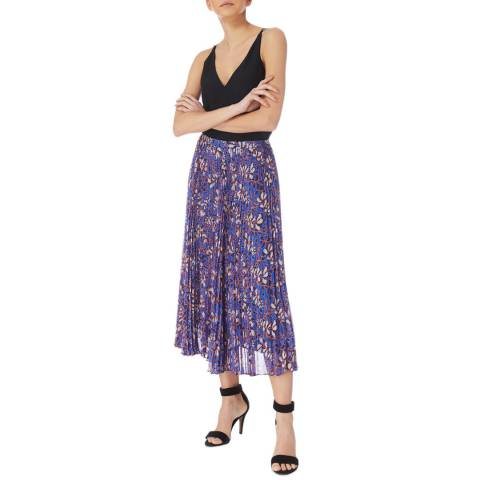 Karen Millen Blue/Multi Foxglove Pleat Skirt
