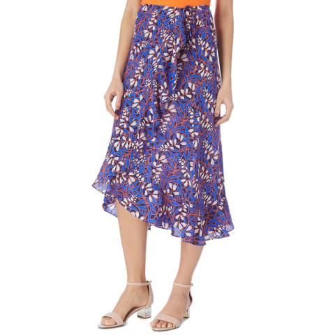 Karen Millen Blue/Multi Foxglove Silk Wrap Skirt