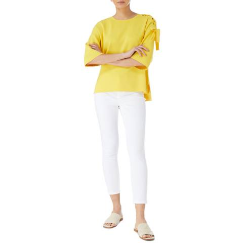 Karen Millen Yellow Colourpop Eyelet Knit Top