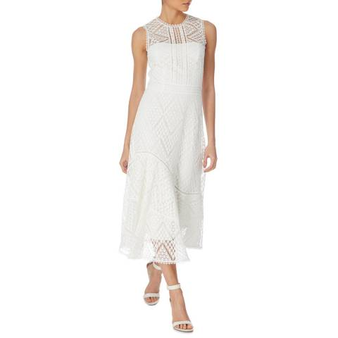 Karen Millen White Chevron Lace Dress