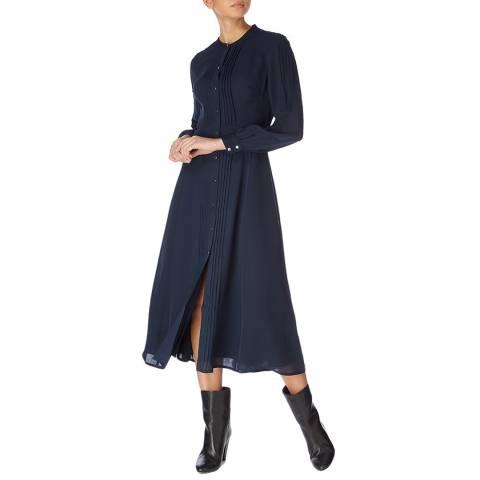 Karen Millen Dark Blue Broderie Pin Tuck Dress