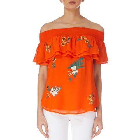 Karen Millen Orange Havana Embroidered Top