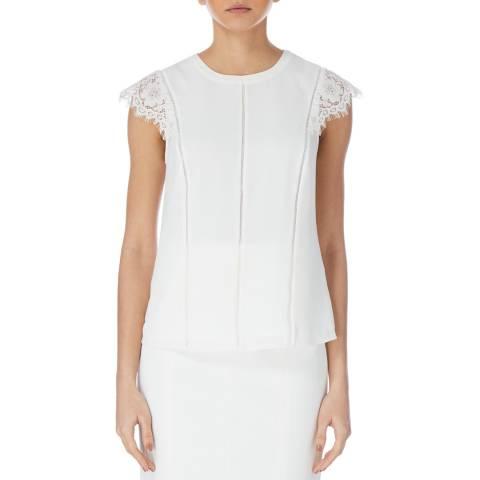 Karen Millen Ivory Lace Sleeve Top