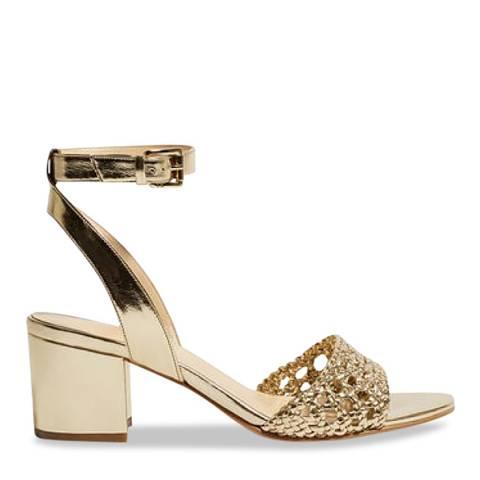 Karen Millen Gold Metallic Plait Heeled Sandals