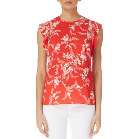 Karen Millen Red Palm Print Top